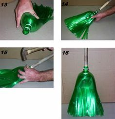 Bottle Broom Anyone? Reuse Plastic Bottles, Plastic Bottle Crafts, Recycled Bottles, Upcycle Home, Diy Recycle, Pet Bottle, Bottle Art, Recycled Crafts, Diy And Crafts