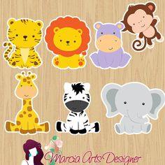 100 Special cutouts electronically cut from photo paper Glossy paper 180 g. Jungle Theme Birthday, Jungle Party, Safari Party, Safari Theme, Animal Birthday, Animal Party, Baby Shower Favors, Safari Animals, Creations