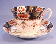 Royal Stafford Antique Hand Finished Art Nouveau Border Vintage Bone China Tea Cup and Saucer
