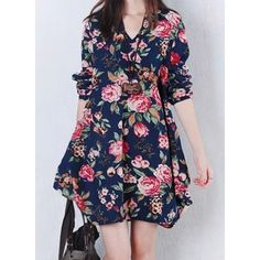 Casual V-Neck Long Sleeve Floral Print Plus Size Irregular Hem Women's Dress
