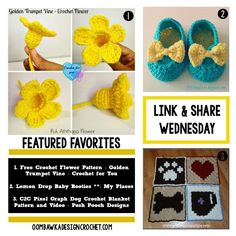 Features - Bright Flowers, Sweet Booties and a C2C Crochet Blanket with Video http://oombawkadesigncrochet.com/2016/04/party-139.html