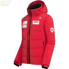 Descente Mens Canada Skier Cross Team Hybrid Down Jacket - Electric Red Ski Racing, Ski Wear, Skiing, Jackets, Men, Ski, Down Jackets, Cropped Jackets, Jacket