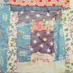 Antique quilt #vintage #textiles #print. My grandma had a quit like this...faded, random pieced, I could never see a pattern...maybe a crazy quit