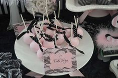 Glam cake pops at a Barbie birthday party! See more party ideas at…