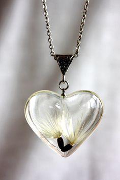 Heart pendant dandelion. Pendant big heart. Dandelion pendant. Epoxy resin pendant. Pendant terrarium. by Dingaya on Etsy