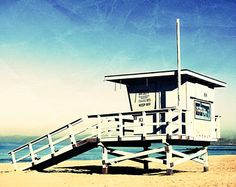 California Beach Photography, 11x14 print, Vintage, Blue, Lifeguard Stand, Ocean, Coast, Redondo Beach, Los Angeles, LA, SoCal, Surf, Gifts
