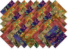 "BATIK VARIETY #1 COLLECTION 40 Precut 5"" QUILTING FABRIC SQUARES"