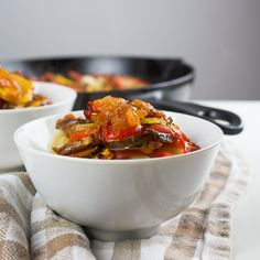 Zucchini, summer squash, eggplant and red pepper sit on a bed of a rich tomato sauce. Just like the one from the movie.