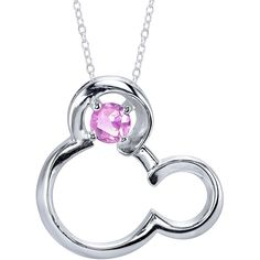 18 Disney Silver Synthetic Pink Sapphire Oct Birthstone Mickey Mouse... ($52) ❤ liked on Polyvore featuring jewelry, necklaces, birthstone jewelry, mickey mouse pendant, silver pendant, birthstone necklace and silver jewelry