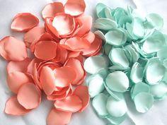 100-1000 rose petals, handmade peach and mint wedding rose petals, custom colors, artificial satin flower petals on Etsy, $19.50