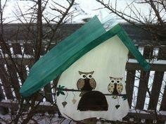 Vogelhaus Eule türkis