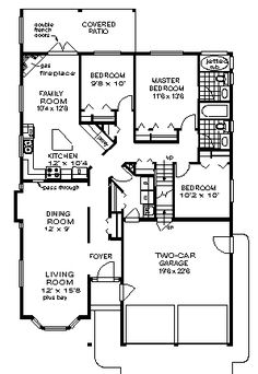 images about House plans on Pinterest   Floor Plans  House    First Floor Plan of Narrow Lot Ranch House Plan