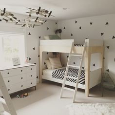 Sneak peek into what is no doubt my favorite boys bunk room of all time (until the next one, of course! ) #boys #bunkbeds #kids #blackandwhite #decals #design #interiordesign #bedroom #fun #kidroom