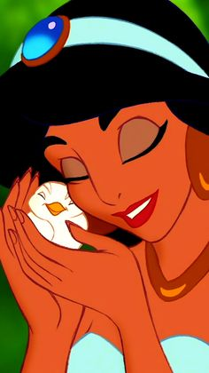 Princess Jasmine, how adorable is this photo of her and the little bird?