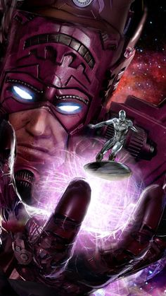 """Galactus & Silver Surfer """"Parable"""" by John Gallagher (uncannyknack) Comic Book Characters, Comic Book Heroes, Marvel Characters, Comic Books Art, Comic Art, Heros Comics, Marvel Comics Art, Bd Comics, Ms Marvel"""