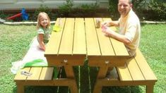 Convertable Picnic Table -- Do It Yourself Home Projects from Ana White-- I want this! Folding Picnic Table Bench, Build A Picnic Table, Diy Bench, Picnic Tables, Ana White, Easy Diy Projects, Home Projects, Sewing Projects, Diy Furniture Plans