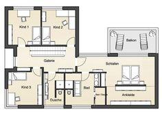 "Grundriss Erdgeschoss: Flachdachhaus ""Individuell"" von Jetzthaus Curved Walls, Architecture Plan, House Layouts, Building Plans, Decoration, Bungalow, Home Goods, House Plans, Sweet Home"