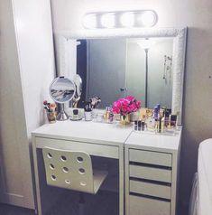 Fantastic Ikea Under Bed Storage . Fantastic Ikea Under Bed Storage . Vanity Room, Vanity Desk, Diy Vanity, Vanity Mirrors, Makeup Desk, Makeup Rooms, Ikea Makeup Vanity, Makeup Vanities, Pink Makeup