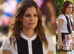 Zoe's black and white colorblock button front top and sequin shorts on Hart of Dixie.  That top (NOT those shorts, jeez)