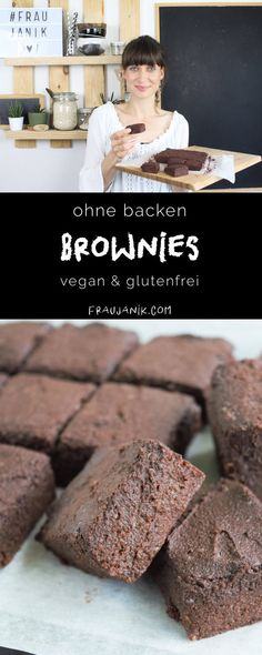 Brownies without baking - Ms. Janik - vegan & gluten-free quick and easy brownies without baking and with just a few ingredients. Easy Whole 30 Recipes, Quick Easy Meals, Sweet Recipes, Whole30 Recipes Lunch, Vegan Recipes, Healthy Vegan Snacks, Vegan Desserts, Healthy Sweets, Sugar Free Sweets