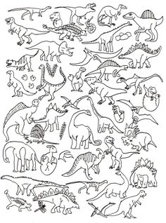 Dinosaur colouring page Dinosaur Crafts, Dinosaur Party, Dinosaur Coloring Pages, Colouring Pages, Halloween Drawings, Preschool Activities, Tatting, Crafts For Kids, Sketches