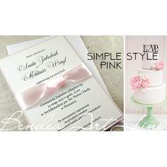 Nowoczesne zaproszenia ślubne - pastelowy róż - Simple Pink