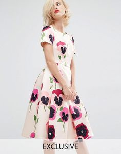 Pin for Later: This Famous '50s Brand Has Been Beautifully Revived For ASOS  Horrockses Iris Pansy Prom Dress in Duchess Satin (£125)