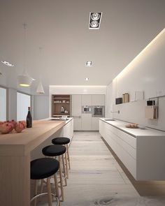 clean lines, floating counters, mixed material white timber