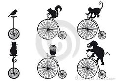Vintage bicycle with animals, vector set