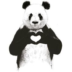 Art-Poster 50 x 70 cm Panda in love ❤ liked on Polyvore featuring home, home decor, wall art, peace poster, panda poster, panda wall art, heart illustration and unframed wall art