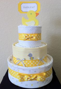 Yellow White and Gray Ducky 3 Tier Diaper Cake by MakelleDesigns, $60.00