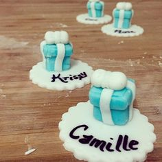 Personalized Tiffany's themed cupcake toppers