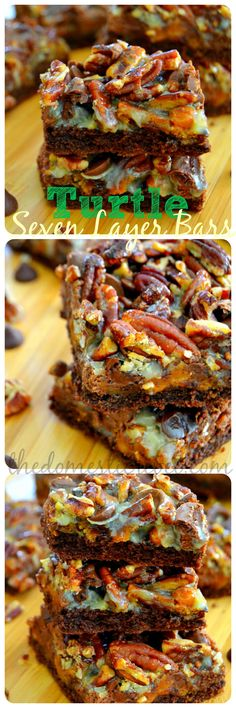 Turtle Seven Layer Bars are sticky, chewy, gooey and bursting with creamy chocolate, buttery caramel and crunchy pecans!