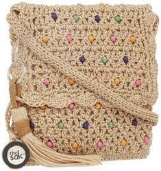 Bolsa de crochê com contas coloridas