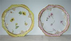 2 Hand painted Limoge France Plates.  Signed by artist L. Keisewalter 1892 on one plate   1893 on the back of the other plate hard to read  name.   Although The back does not read Limoges France but other plates  I have listed reads L. Keieswalter 1892 . Limoges France.   Pretty dessert plates one with pink trim and one with  yellow trim, Both trimmed with gold  Measuring 7 inches across in very good condition  Image may appear larger then actual size.   Nice gift for that special person…