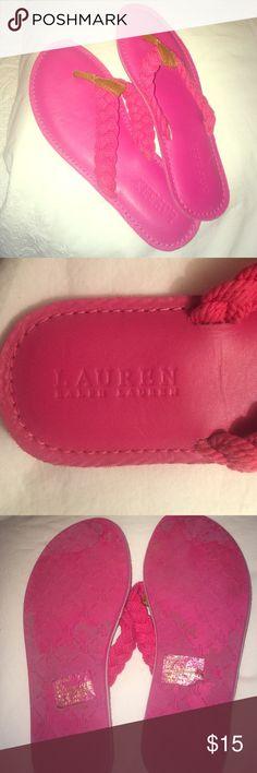 Pink Ralph Lauren Flip Flops Cute pink Ralph Lauren Flip flops. Worn once all day so a little wear on the bottoms but other than that perfect condition. Look brand new! Super cute 💗😊 Ralph Lauren Shoes Sandals