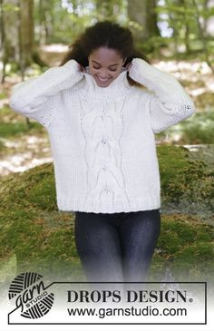 Cozy Weekend - Knitted jumper with cables and high collar. Sizes S - XXXL. The piece is worked in DROPS Eskimo. Free knitted pattern DROPS 181-13