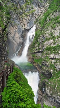 Waterfall Savica is one of the most famous and popular waterfalls in Slovenia located in the Triglav National Park in Bohinj, Slovenia. Glamping, Camping Tours, Bohinj, Julian Alps, My Father's World, Fantasy Landscape, Places, Nature, Rios