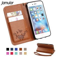 JAMULAR Flip Leather Case for iPhone 6 6S Wallet Stand Coque 3D Flower Silicon Back Cover Case for iPhone 6 6s Plus Bag Shell