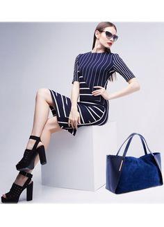 torby na ramię - damskie-Torebka damska, skóra, zamsz Denise 01 dark blue