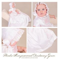 The monogram on this gown is TO. DIE. FOR! | Monogrammed Christening Gowns: Phoebe www.onesmallchild.com
