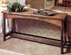 Console table for behind couch and/or in entryway. I like the contrasting types of wood with dark legs and light top with what looks like some inlay work.