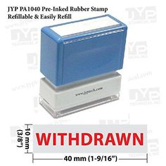 New JYP PA1040 Pre-Inked Rubber Stamp w. Withdrawn