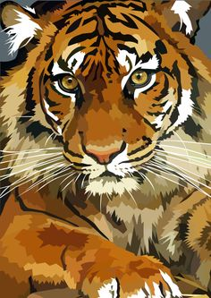 Awesome tiger by elviraNL on DeviantArt  - digital drawing of a Tiger