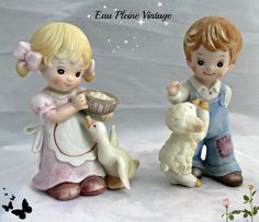 Homco Bisque Porcelain Handpainted Figurines by EauPleineVintage