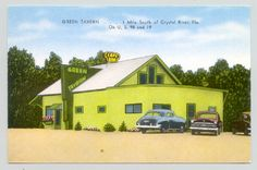 Crystal River, Florida FL ~ Green Tavern / Cafe & Bar / vintage postcard
