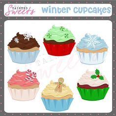 Winter Cupcakes Clip Art Set by danger0usangel03 on Etsy, $3.00 #cupcake #winter #sweets #treats #clipart #printable