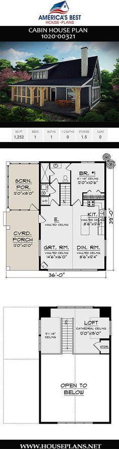 Get to know this unique Cabin house Plan delivers 1252 sq. 1 bedroom 1 bathroom a screened-in porch a loft and an open floor plan. Cabin House Plans, Best House Plans, Small House Plans, House Floor Plans, 1500 Sq Ft House, Bungalow Homes, Cabin Homes, Lake Cabins, House