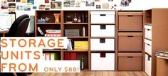 storage units with cardboard boxes