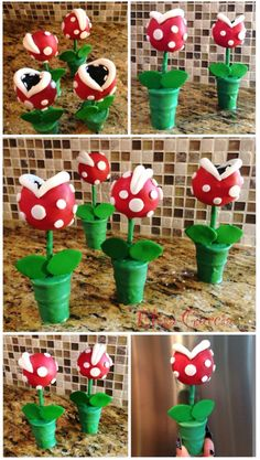 Super Mario Bros Piranha Plant In Pipe Cake Pops